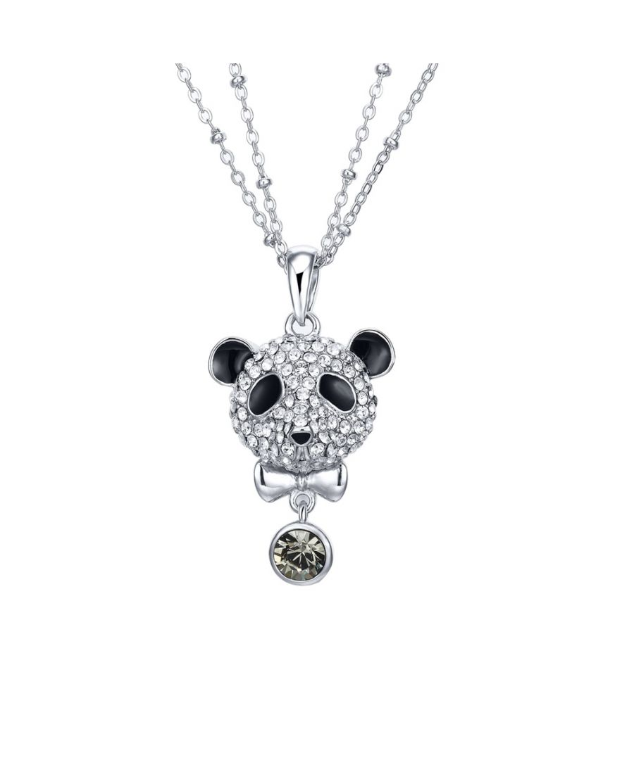 Image for Swarovski - Black Diamond Swarovski Crystal Elements Crystal Panda Pendant and Rhodium Plated