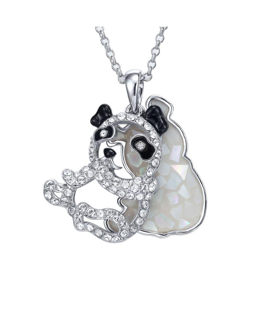 Image for Swarovski - Abalone and White Swarovski Crystal Elements Panda Pendant