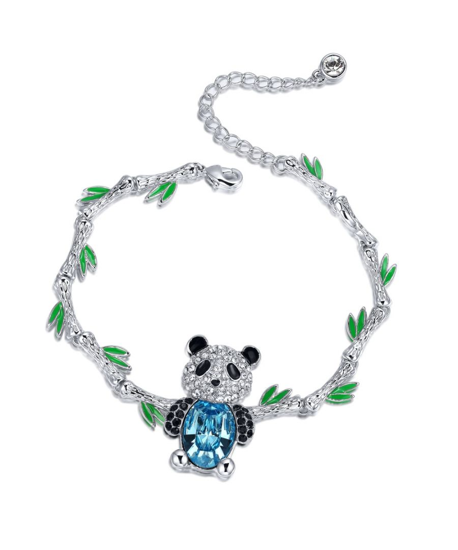 Image for Swarovski - Blue Swarovski Crystal Elements and Rhodium Plated Panda Bracelet