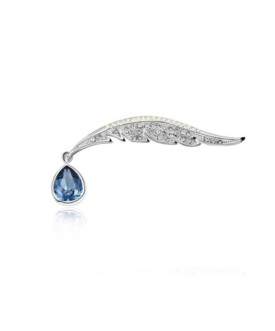 Image for Swarovski - Blue Peacock Feather Swarovski Crystal Brooch