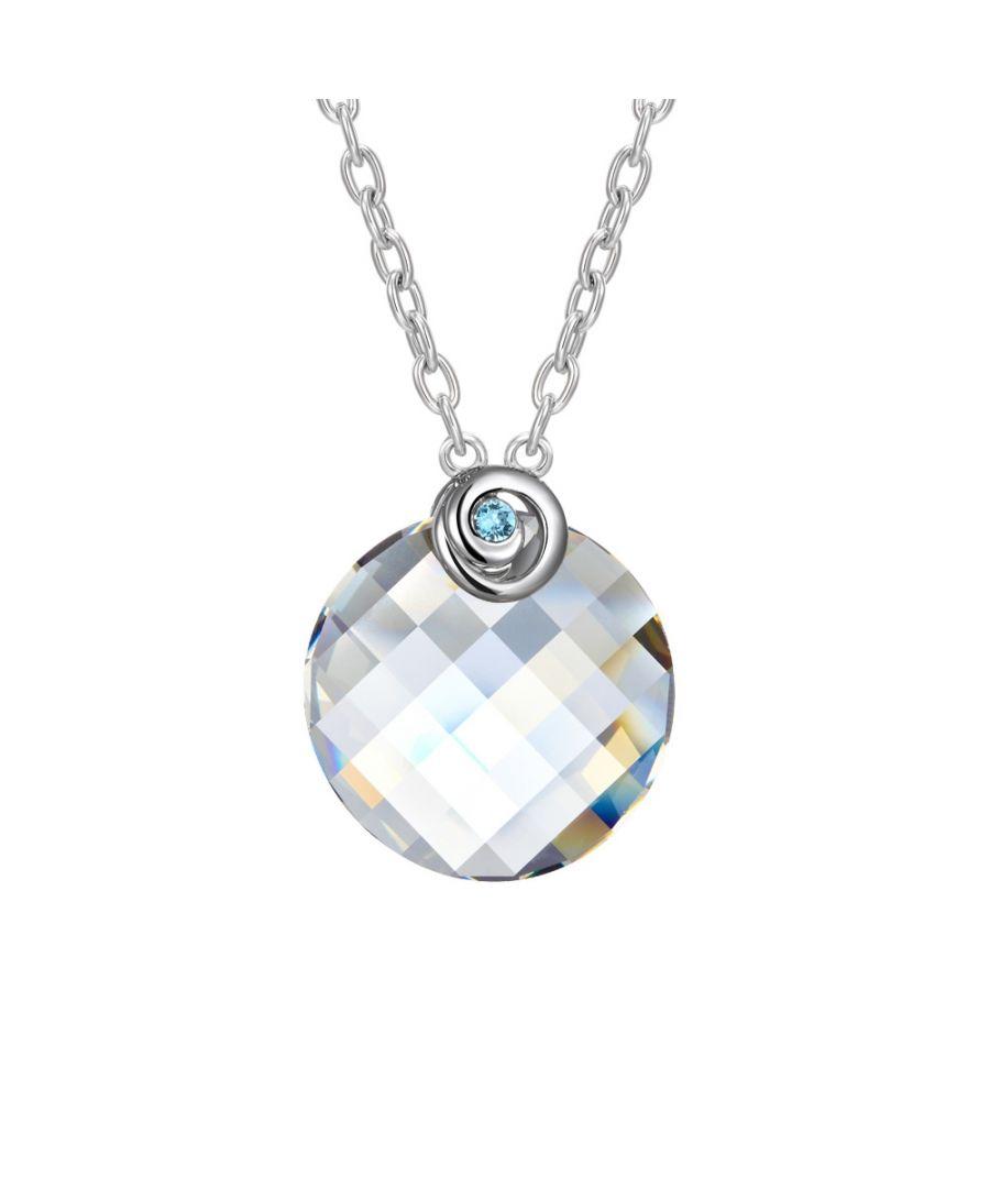 Image for Swarovski - White Swarovski Crystal Elements Circle Necklace and Rhodium Plated