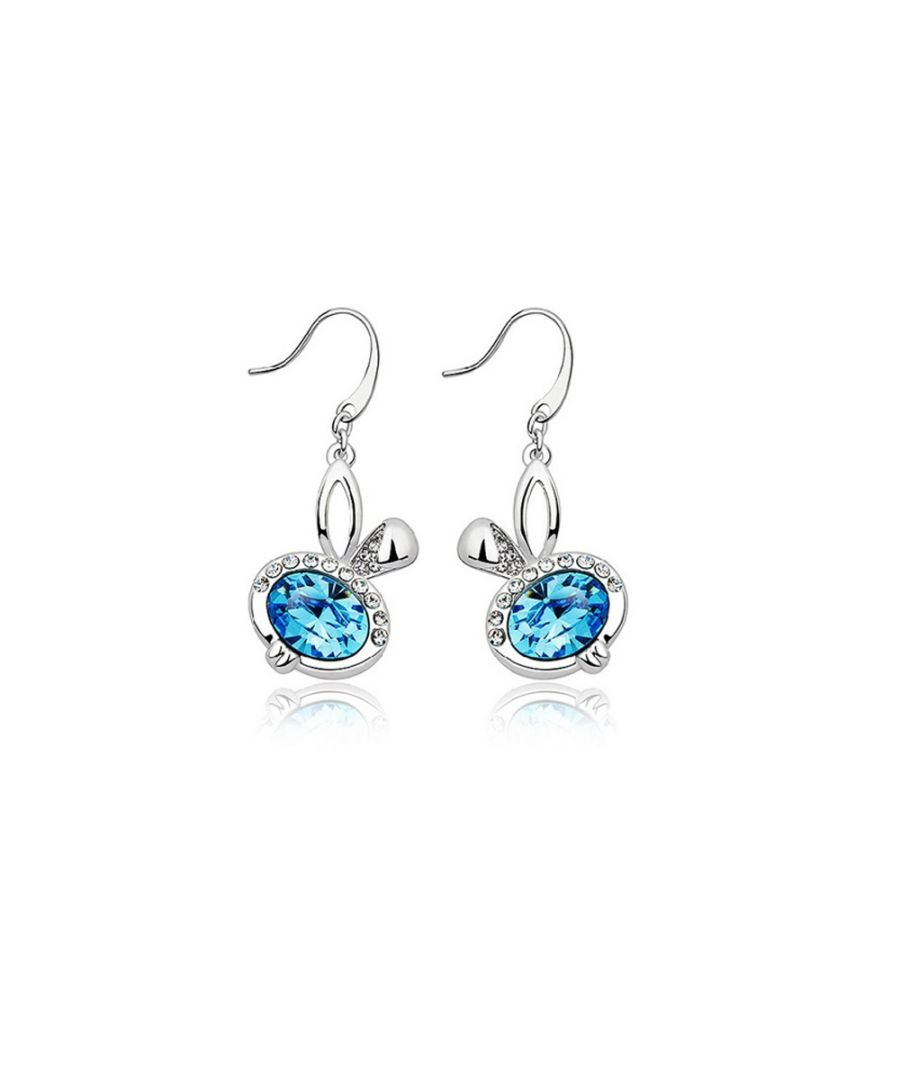 Image for Swarovski - Blue Swarovski Crystal Elements Rabbit Earrings and Rhodium Plated