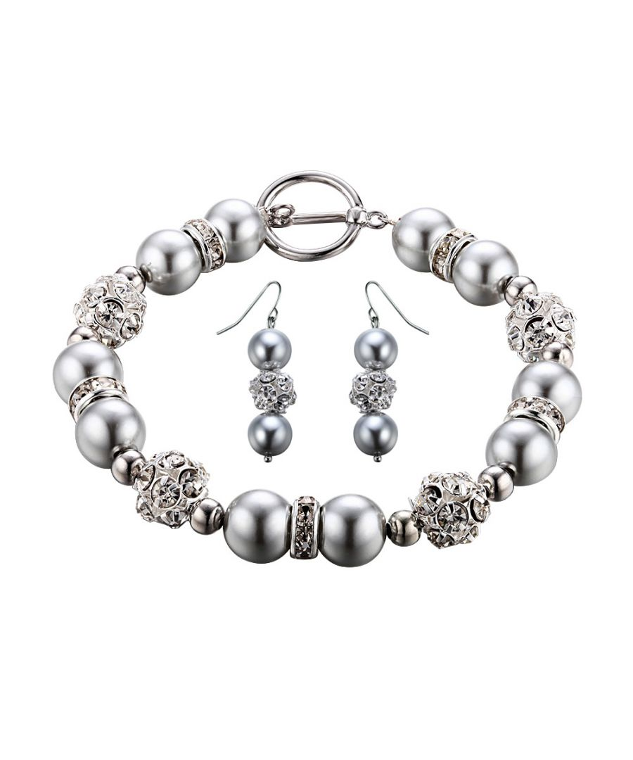 Image for Silver Pearls, Crystal and Rhodium Plated Bracelet and Earrings Set