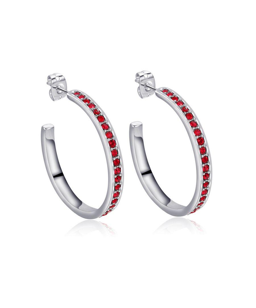 Image for Swarovski - Red Swarovski Crystal Elements Hoop Earrings