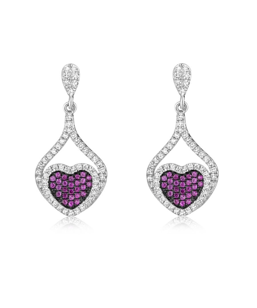 Image for Swarovski - Heart Earrings 925 Silver and White and Pink Swarovski Crystal Zirconia