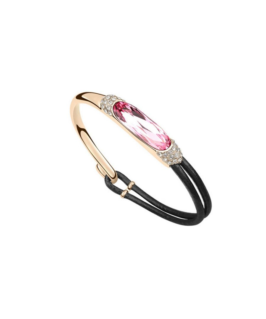 Image for Swarovski - Black Leather and Pink Swarovski Crystal Elements Bracelet