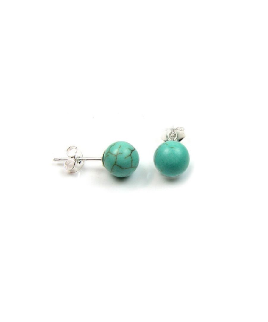 Image for Blue Turquoise Pearl Gemstones Women Earrings and Silver Mounting