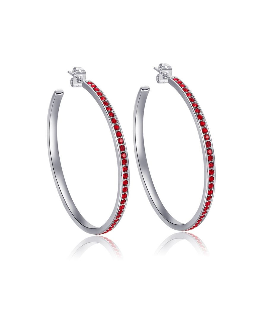 Image for Swarovski - Red Swarovski Crystal Elements Large Hoop Earrings