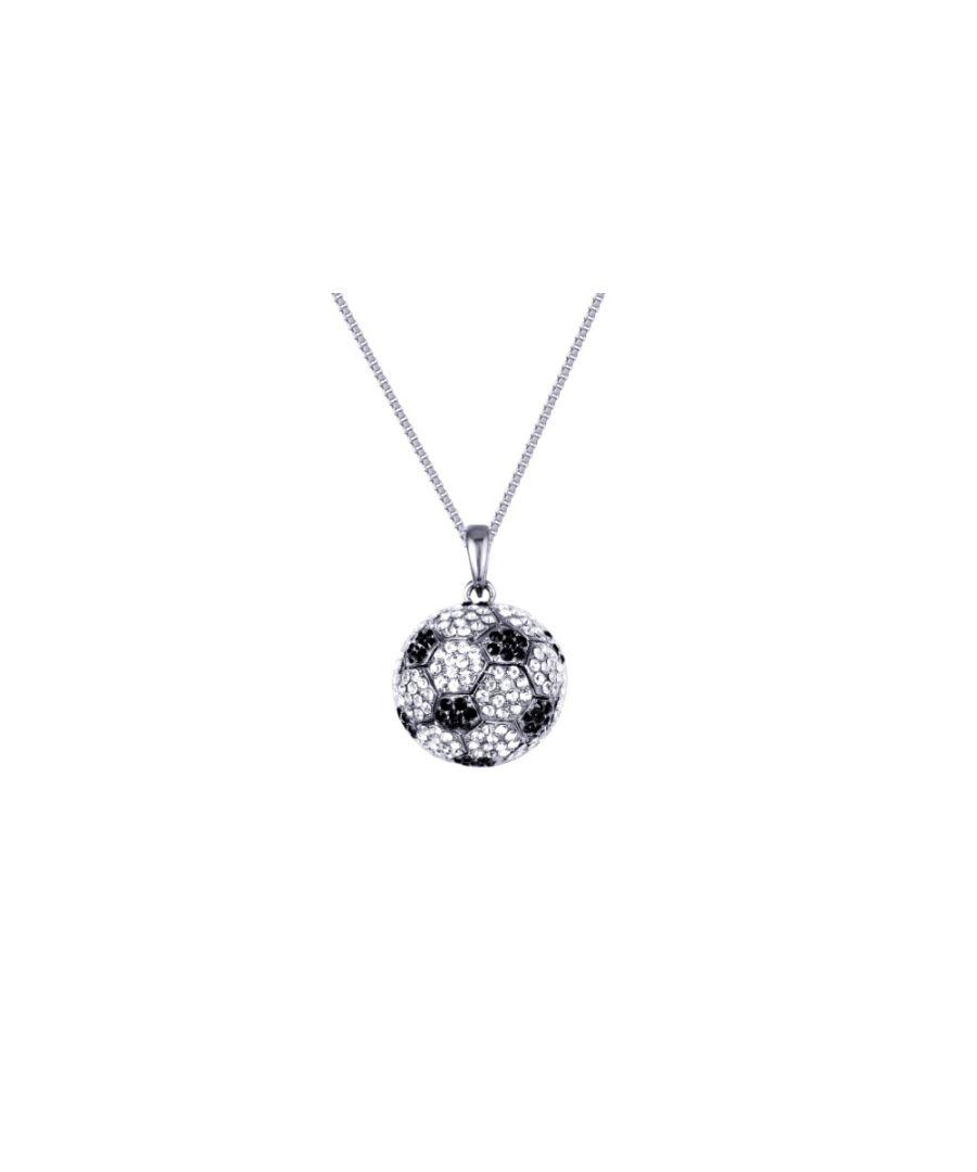 Image for Swarovski - Black and White Football Necklace with 300 Swarovski Crystals