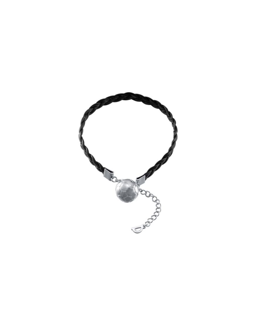 Image for Silver and Black Leather Football Men Bracelet