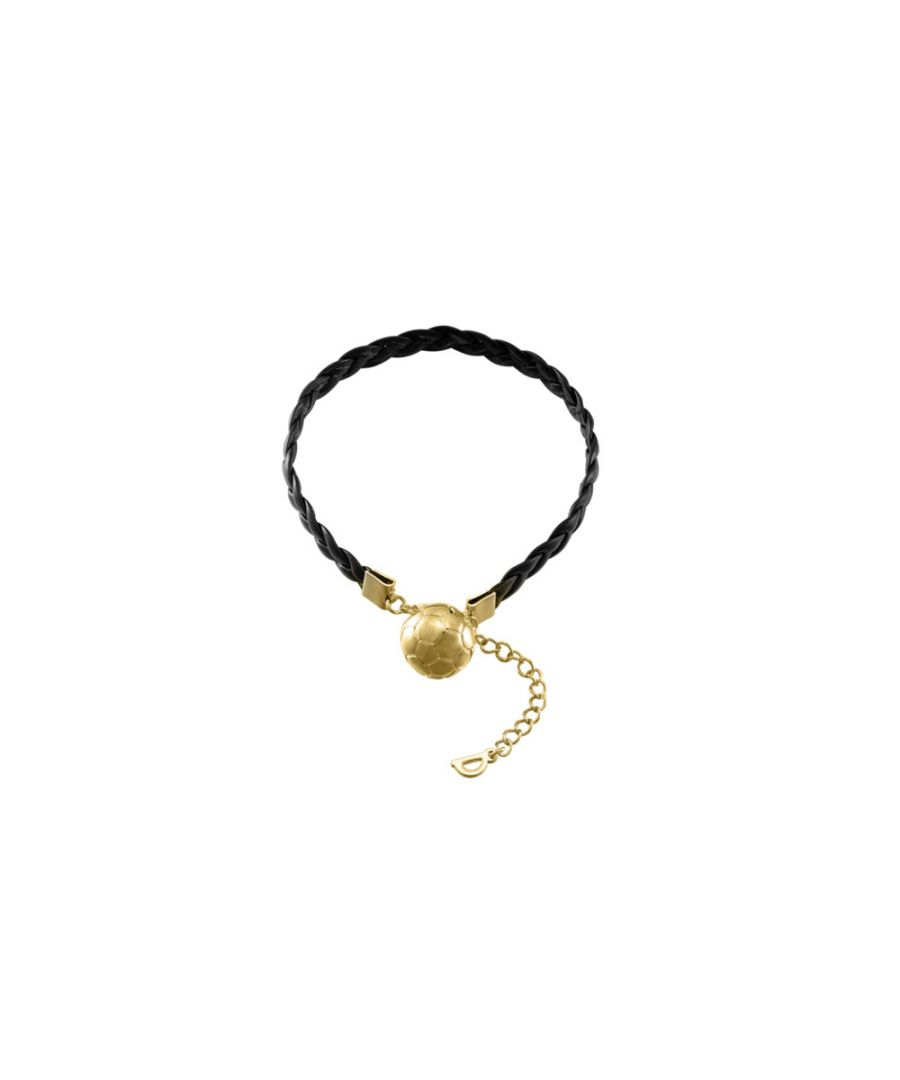 Image for Yellow Gold and Black Leather Football Men Bracelet