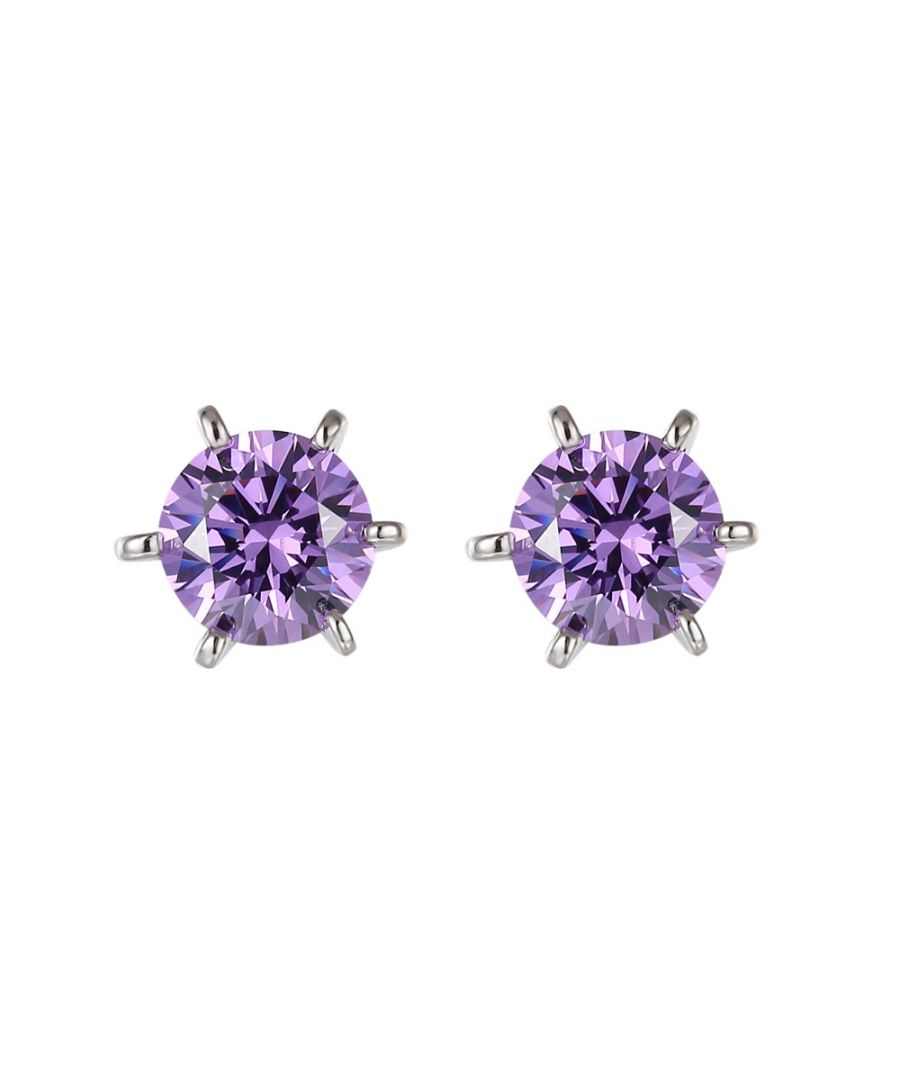 Image for Swarovski - Purple Swarovski Zirconia Crystal Earrings and Silver Mounting