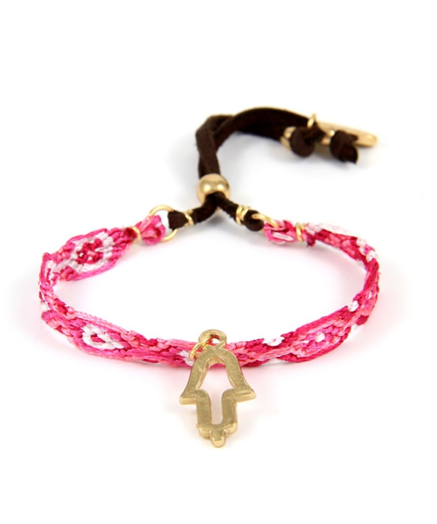 Image for Ettika - Hamsa in Yellow Gold Friendship Bracelet and Pink Braided Cotton