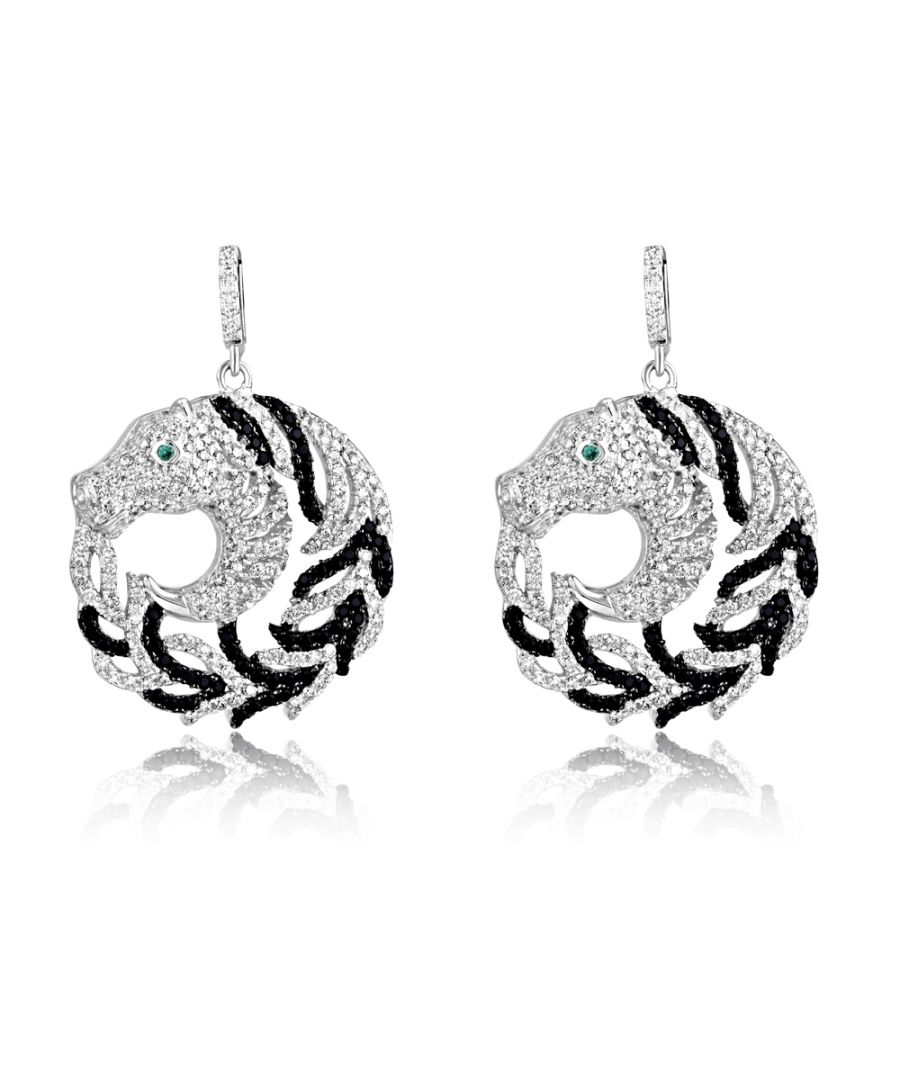 Image for Swarovski - 470 White and Black Swarovski Crystal Zirconia Horse Earrings and 925 Silver