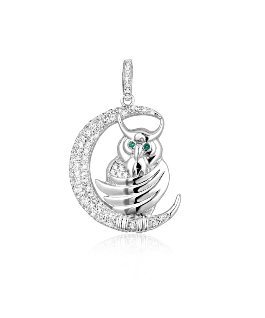 Image for Swarovski - White and Green 76 Swarovski Crystal Cubic Zirconia Owl and Moon Pendant and Silver Mounting