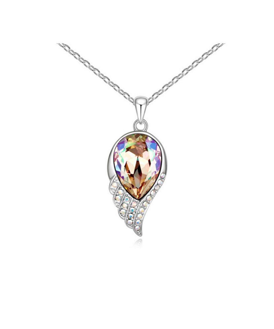 Image for Swarovski - White Swarovski Element Crystal Feather Pendant and White Gold Plated