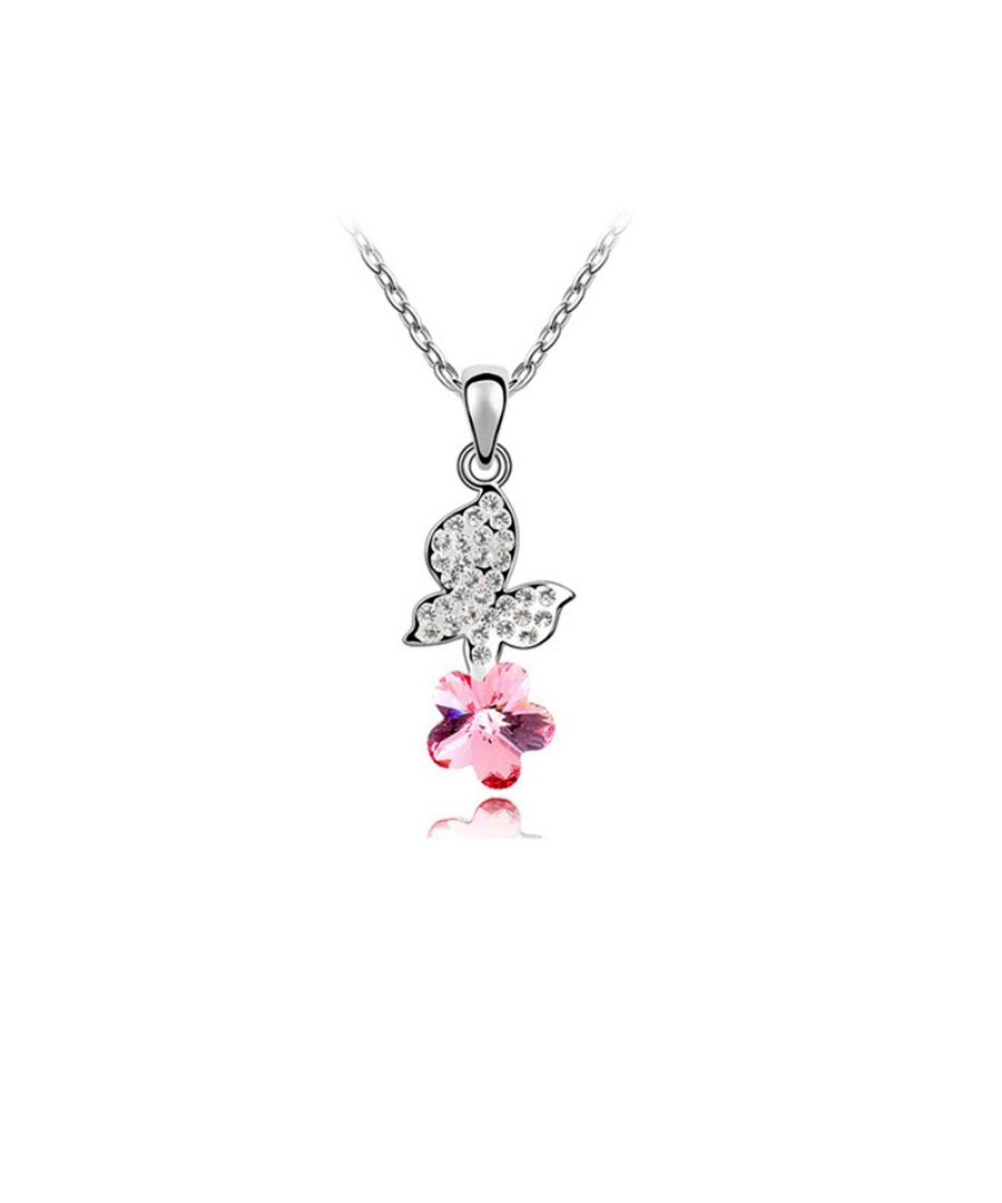 Image for Swarovski - Pink Swarovski Element Crystal Butterfly Pendant