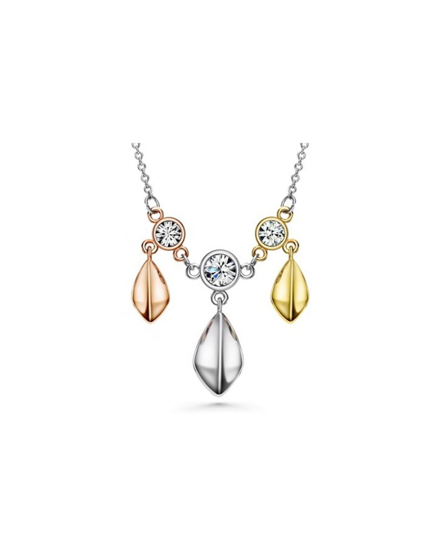 Image for Swarovski - 3 Golds, White Swarovski Crystal Elements and Rhodium Plated Necklace