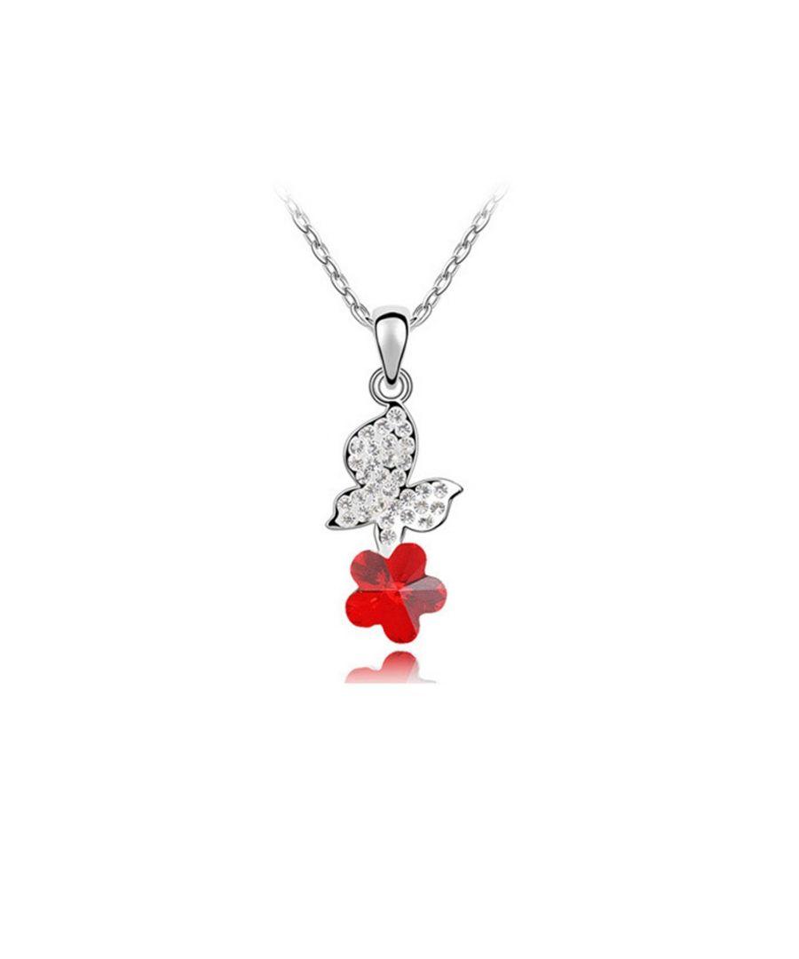 Image for Swarovski - Red Swarovski Element Crystal Butterfly Pendant
