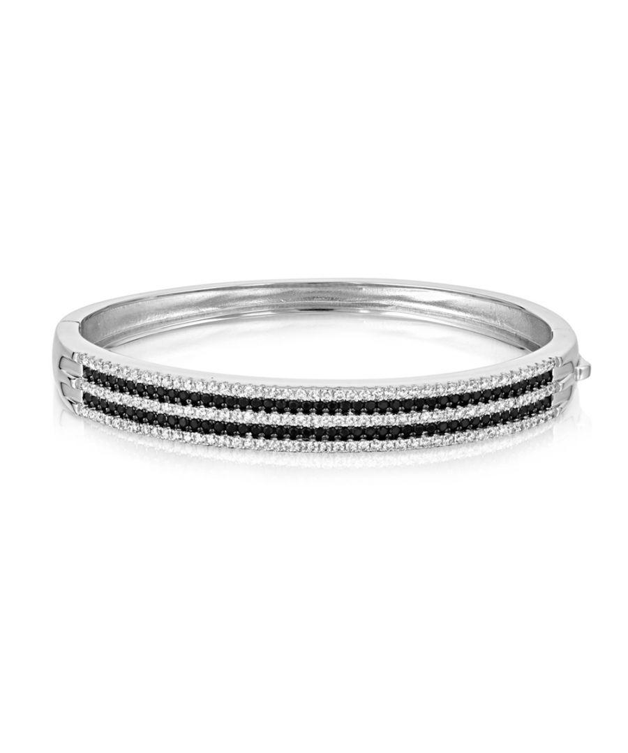 Image for Swarovski - Bangle Bracelet Silver and 218 Black and White Swarovski Crystal Cubic Zirconia
