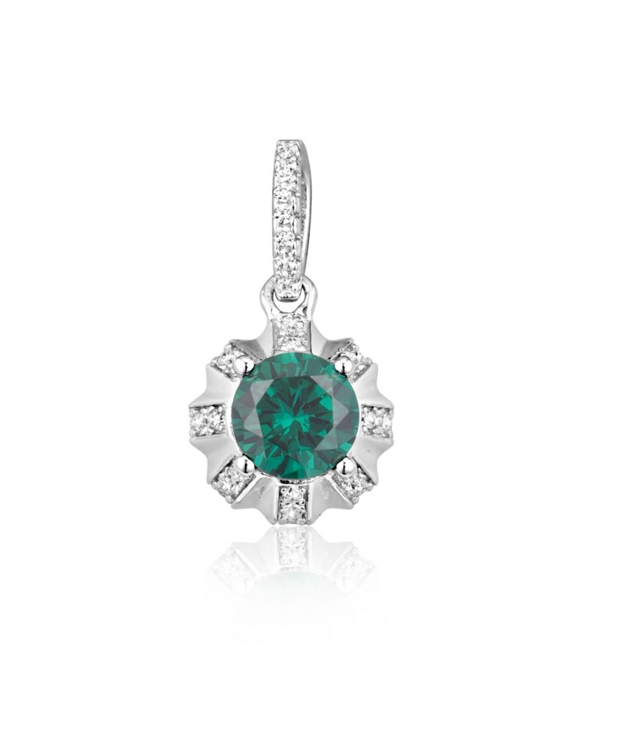Image for Swarovski - White and Green 40 Swarovski Crystal Cubic Zirconia Sun Pendant and Silver Mounting