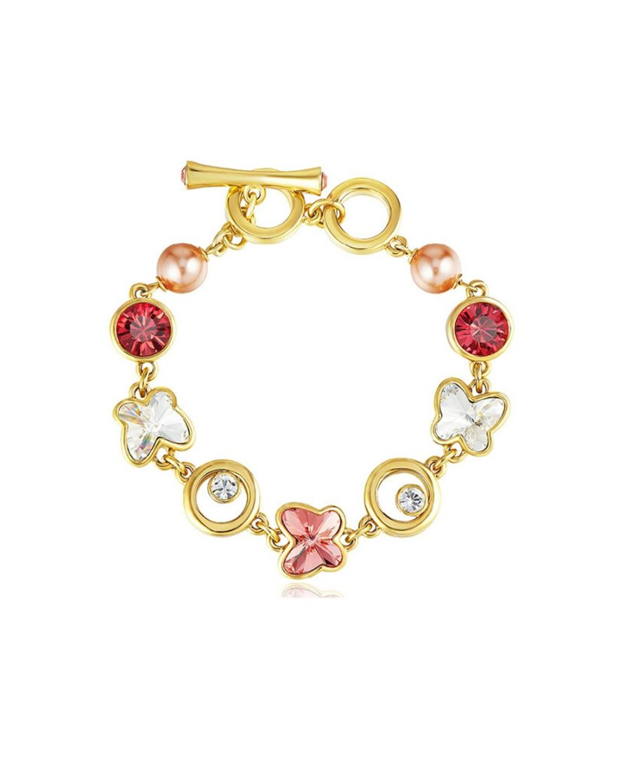 Image for Swarovski - Pink and White Swarovski Crystal Elements, Pearls and Rhodium Plated Butterfly Bracelet