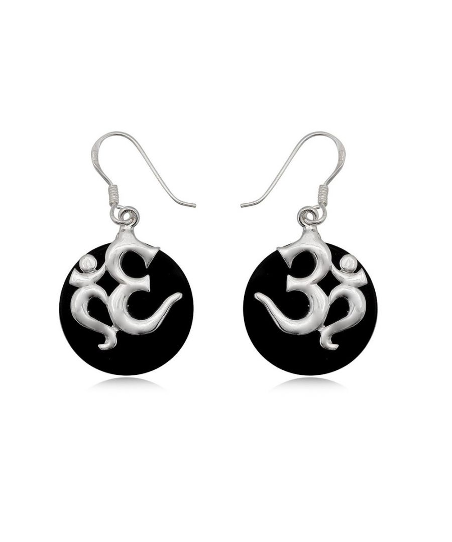 Image for Black Mother of Pearl Drop Om Earring and Silver 925