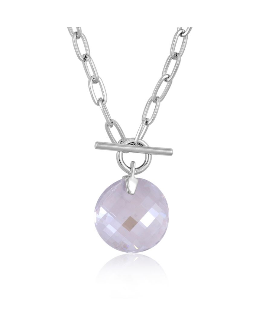 Image for Swarovski - White Swarovski Crystal Elements Circle Necklace and Rhodium Plated