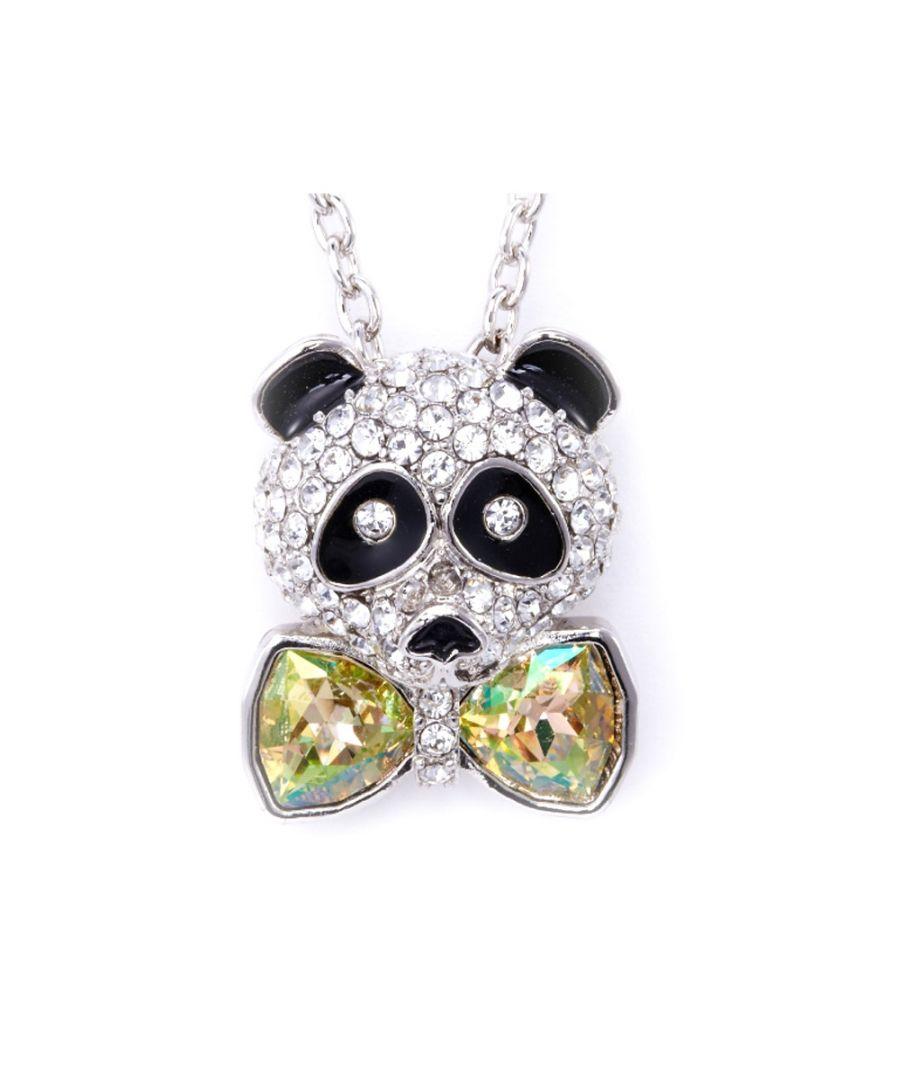 Image for Swarovski - Yellow Swarovski Crystal Elements Bow Tie Panda Pendant and Rhodium Plated