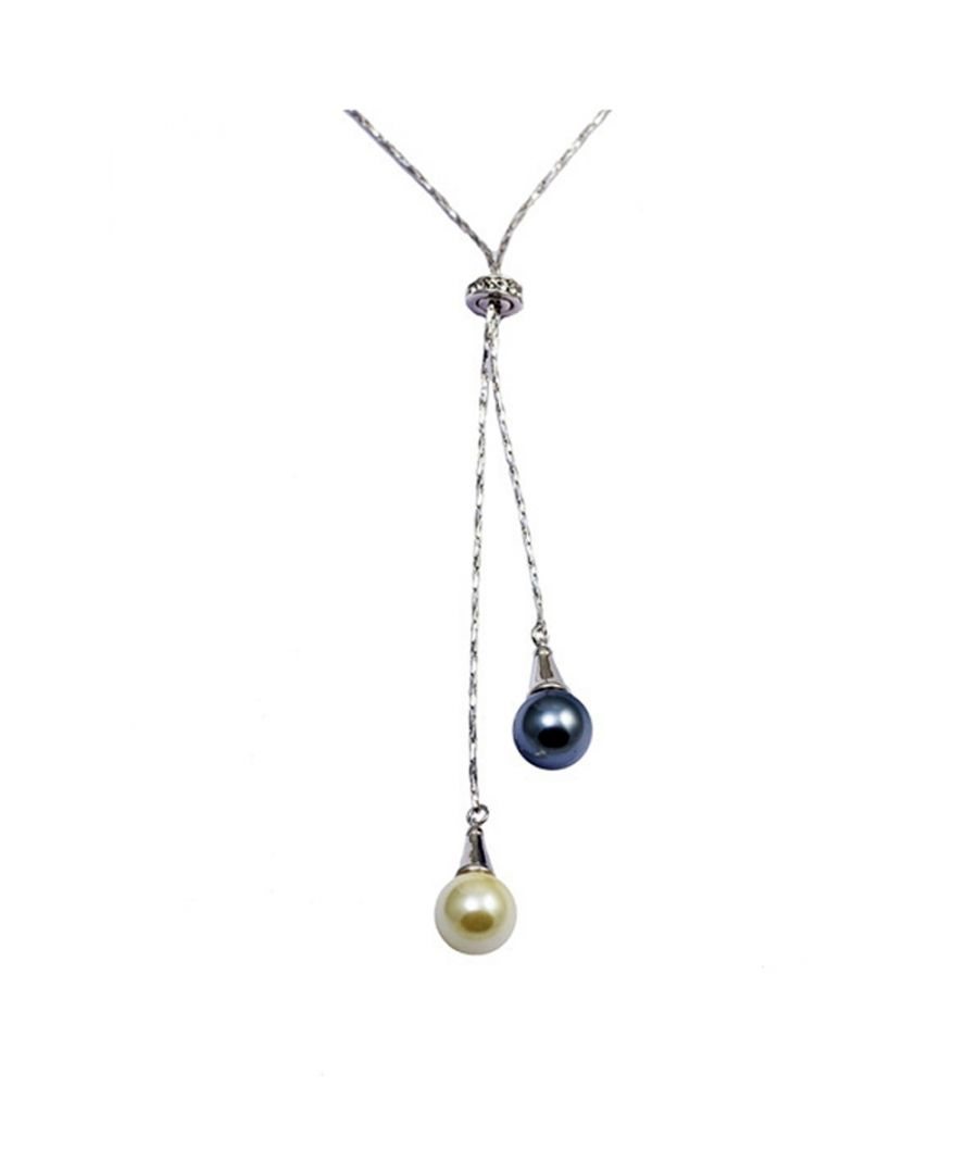 Image for Swarovski - Black and White Double Pearl Pendant, Swarovski Element Crystal and Rhodium Plated