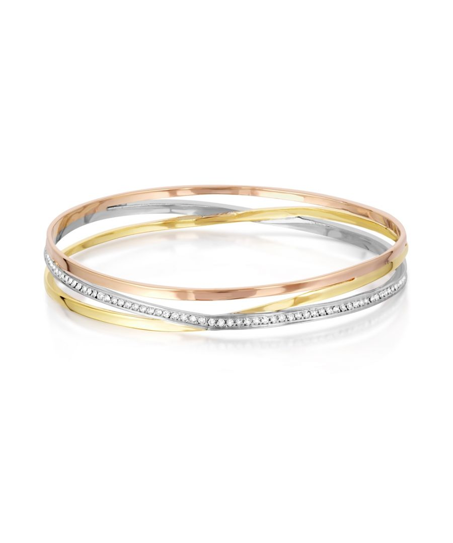 Image for Swarovski - 3 Golds and White Swarovski Crystal Elements Child Bangle Bracelet