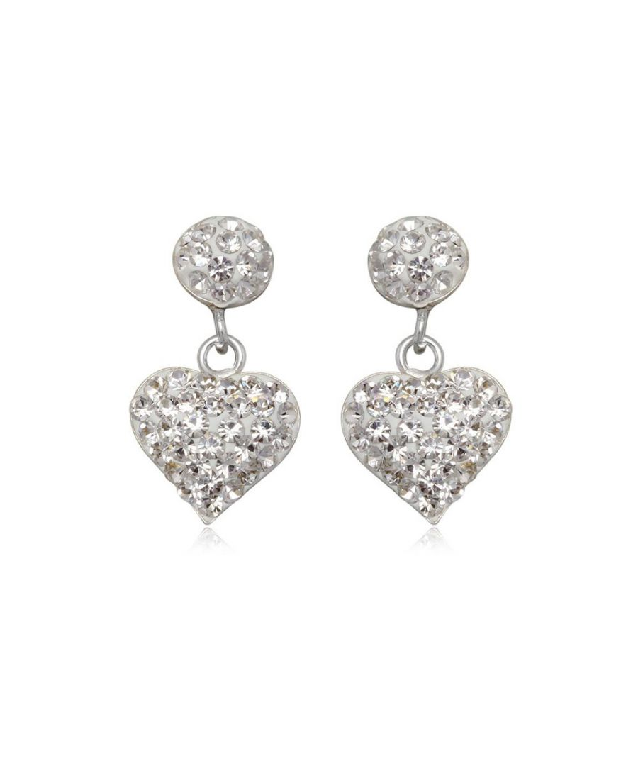 Image for White Crystal Heart Earrings and 925 Silver