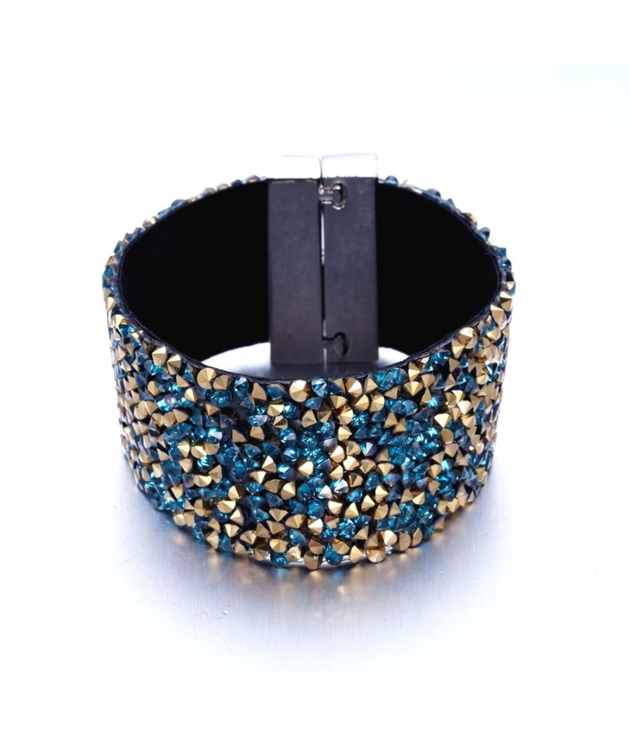 Image for Swarovski - Blue and Gold Swarovski Crystal Elements and Velvet Bracelet