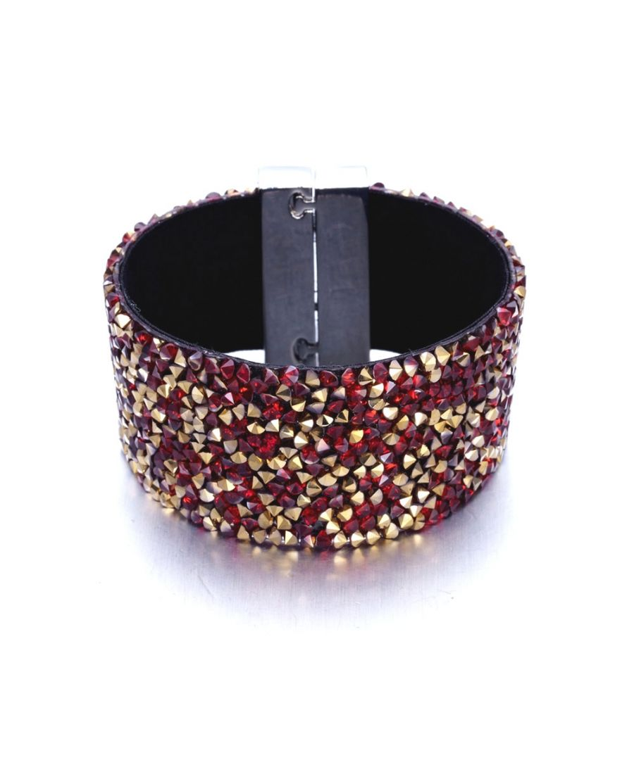 Image for Swarovski - Red and Gold Swarovski Crystal Elements and Velvet Bracelet