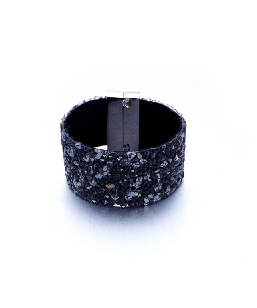 Image for Swarovski - Black Swarovski Crystal Elements and Grey Gems and Velvet Bracelet