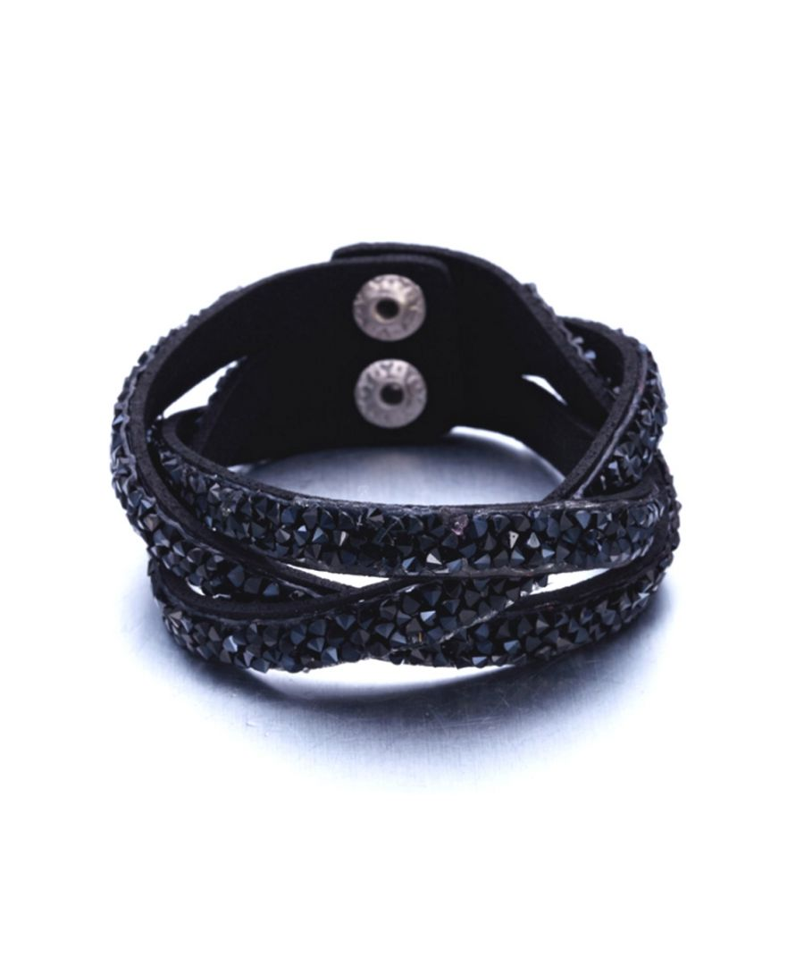 Image for Swarovski - Black Swarovski Crystal Elements and Leather Interlaced Bracelet