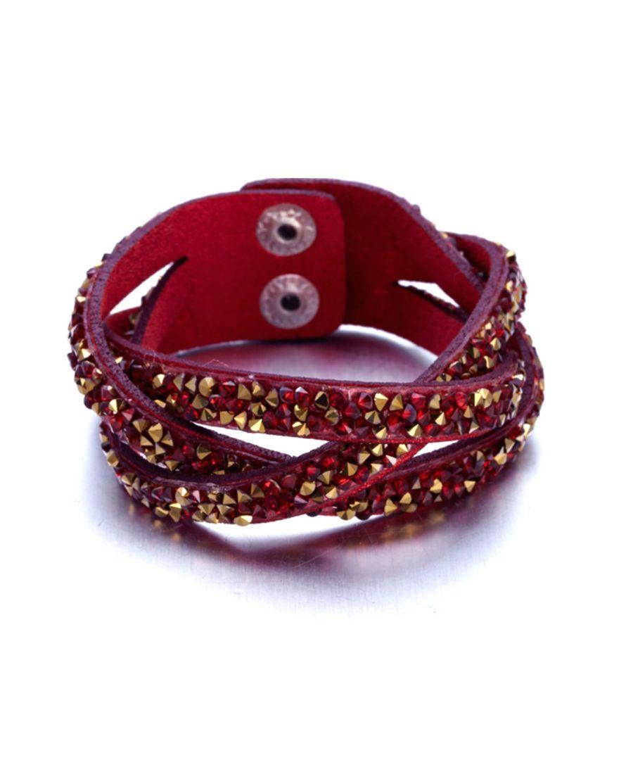 Image for Swarovski - Red and Golden Swarovski Crystal Elements and red leather Interlaced Bracelet
