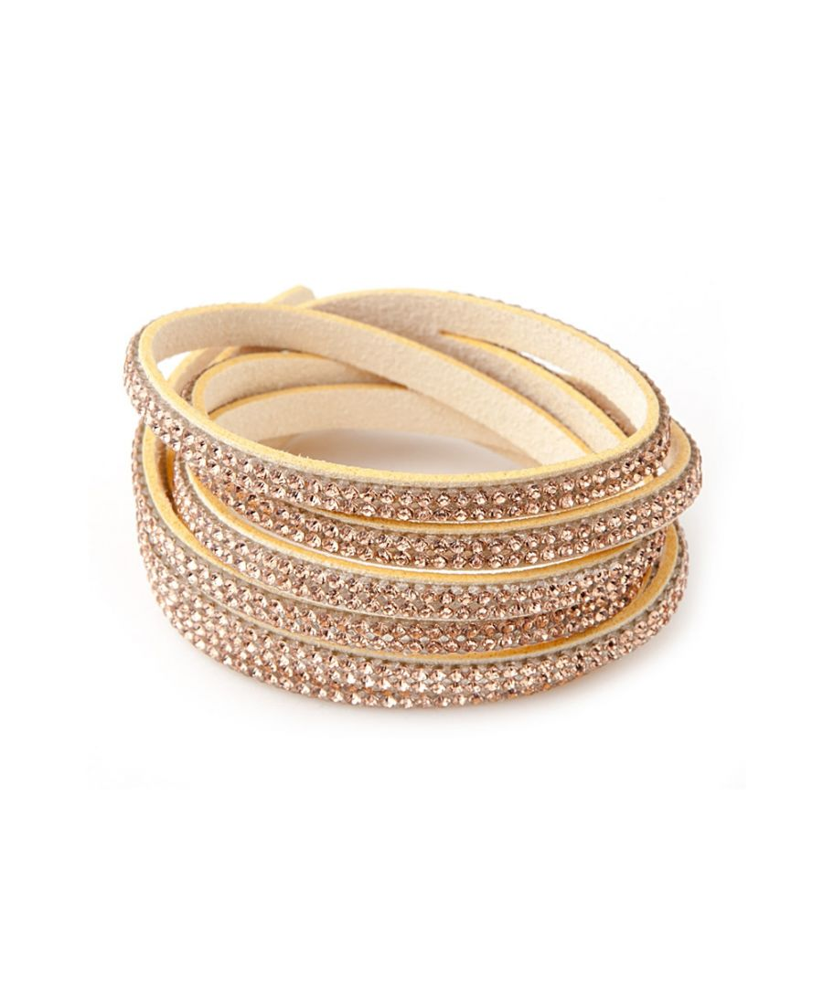 Image for Swarovski - Gold Swarovski Crystal Elements and Beige velvet 3 Rows Bracelet