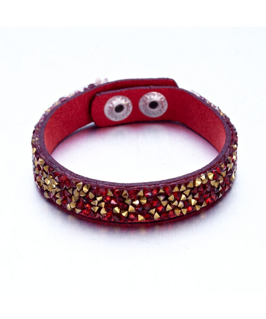 Image for Swarovski - Gold and Red Swarovski Crystal Elements and red leather Bracelet