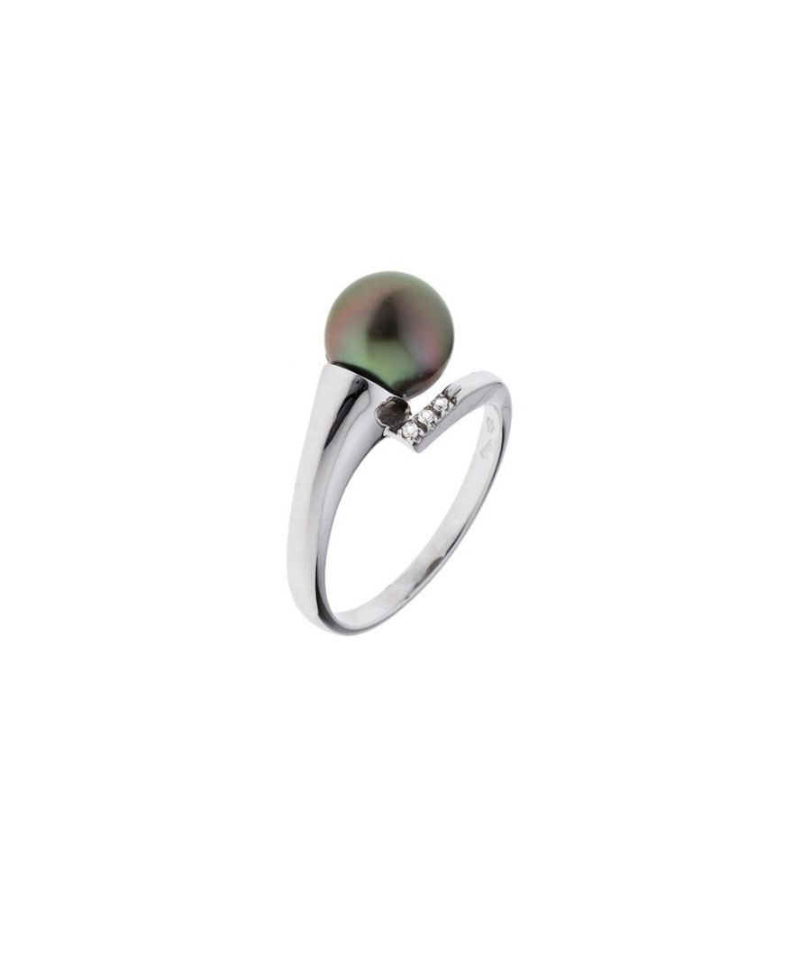 Image for Black Tahitian Pearl, Diamonds Ring and White Gold 375/1000