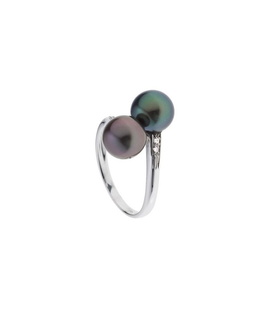 Image for 2 Black Tahitian Pearls, Diamonds Ring and White Gold 375/1000