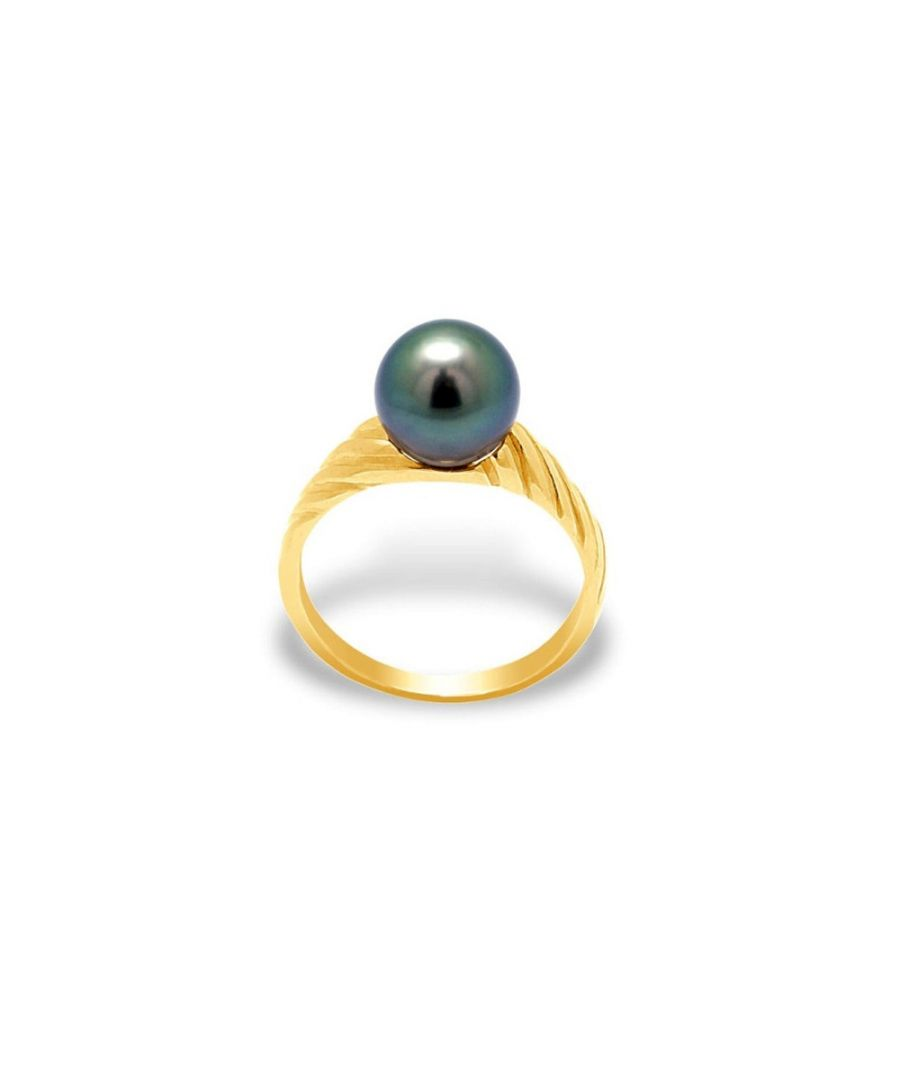Image for Black Tahitian Pearl bangle Ring and Yellow Gold 375/1000