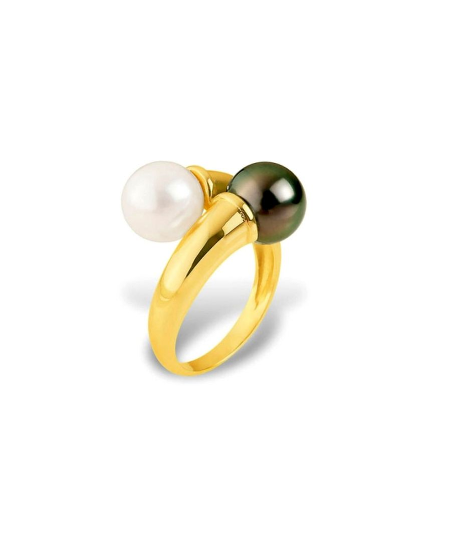 Image for White Freshwater Pearl and Black Tahitian Pearl Ring and Yellow Gold 375/1000