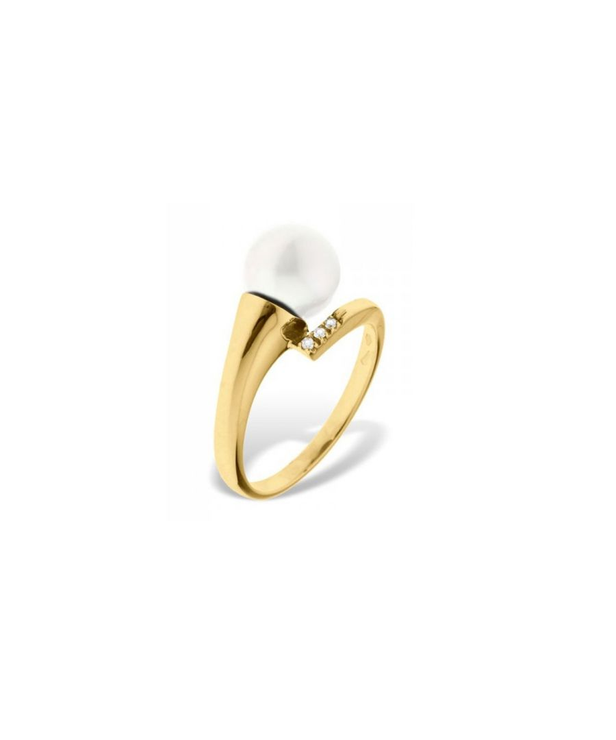 Image for White Freshwater Pearl, Diamonds Ring and Yellow Gold 375/1000
