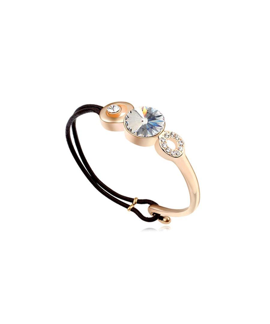 Image for Swarovski - White Swarovski Crystal Elements Bracelet and Black leather