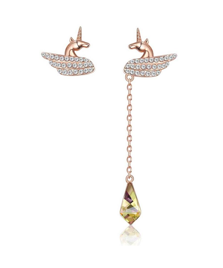 Image for Swarovski - Women's Unicorn and Swarovski Crystal Dangling Earrings