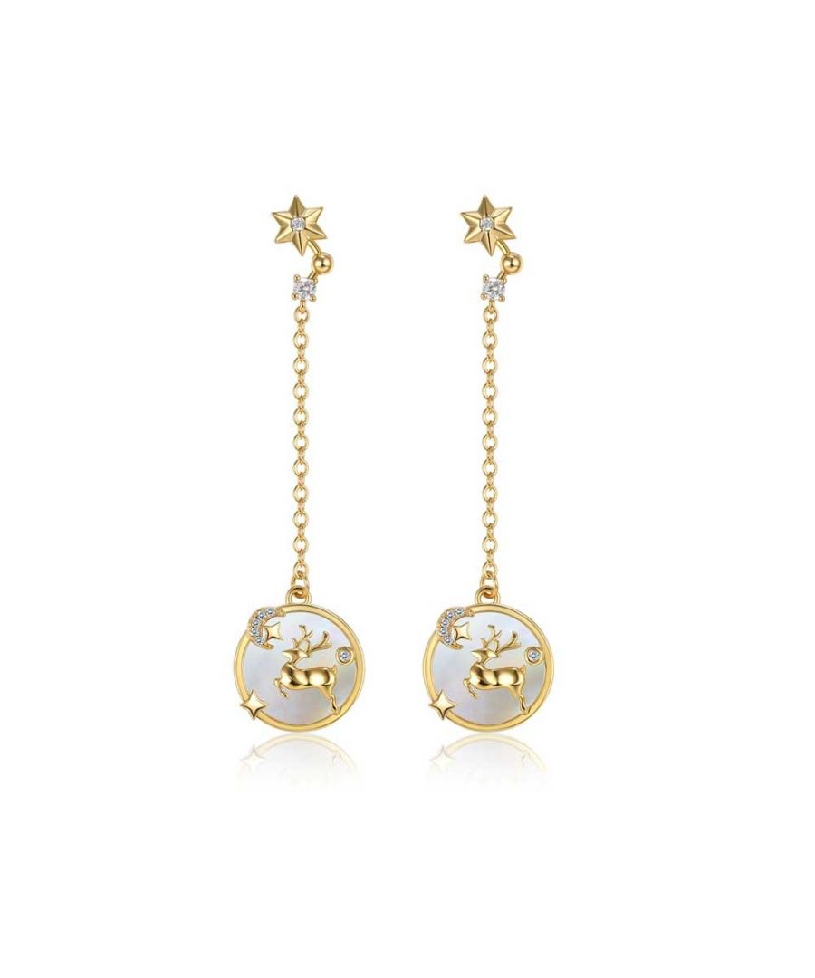 Image for Swarovski - Women's Reindeer Dangling Earrings and White Swarovski Crystal and Yellow Gold Plated
