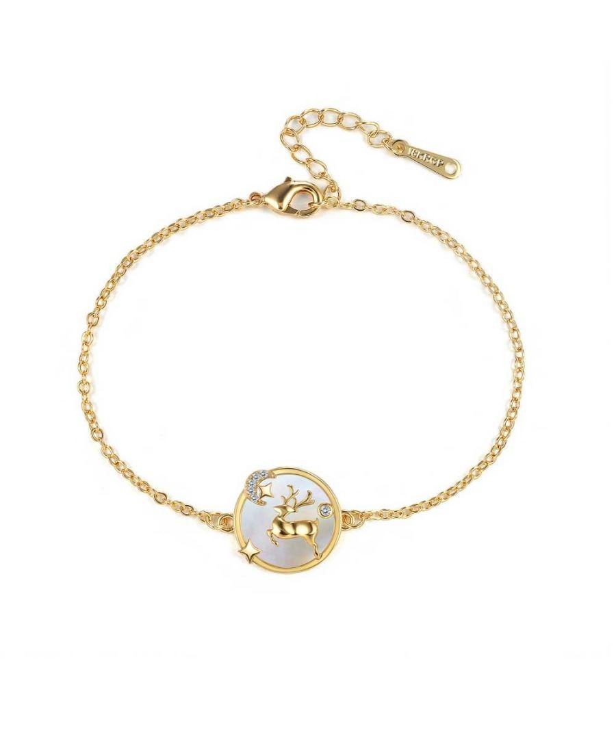 Image for Swarovski - Women's Reindeer Bracelet in White Swarovski Crystal and Yellow Gold Plated
