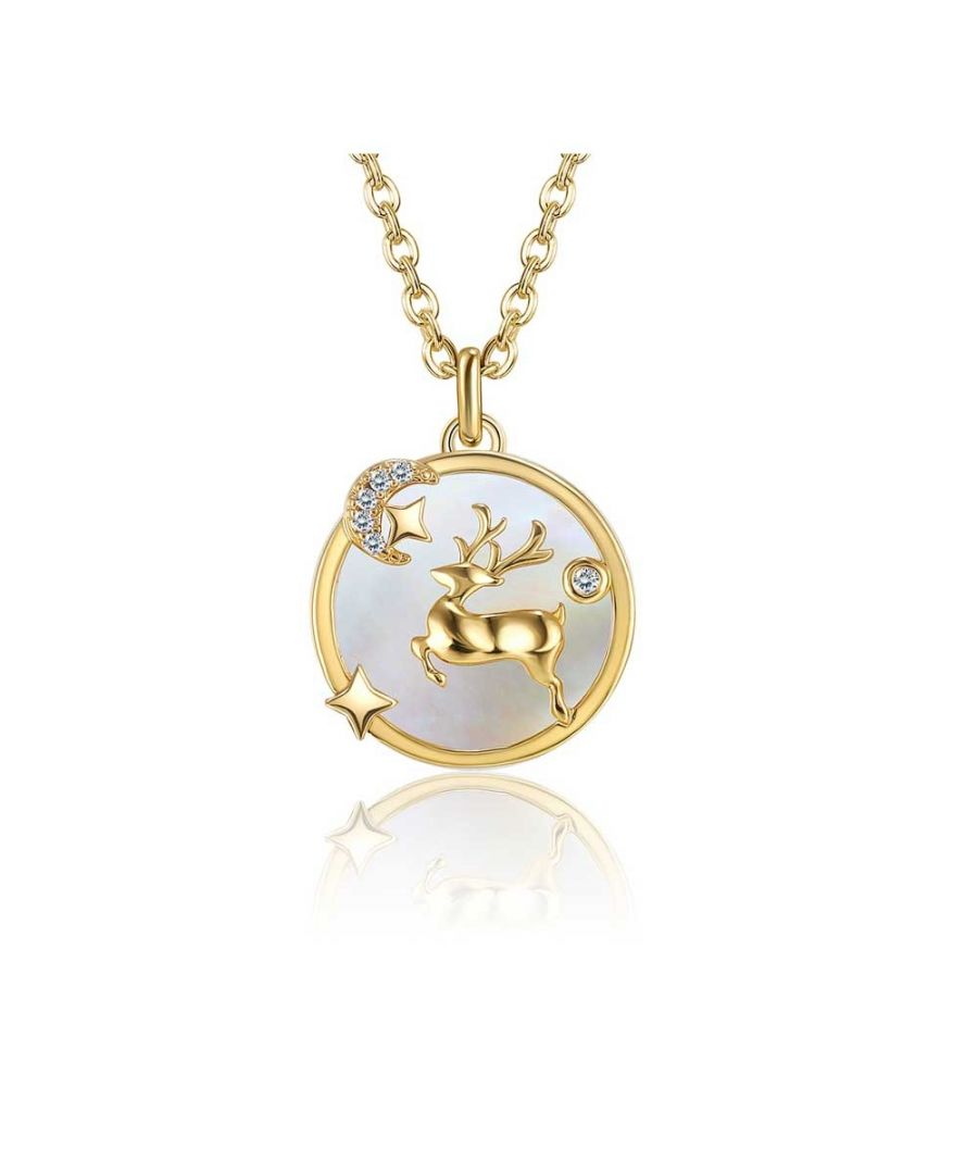 Image for Swarovski - Necklace Woman White Swarovski Crystal Reindeer Pendant and Yellow Gold Plated
