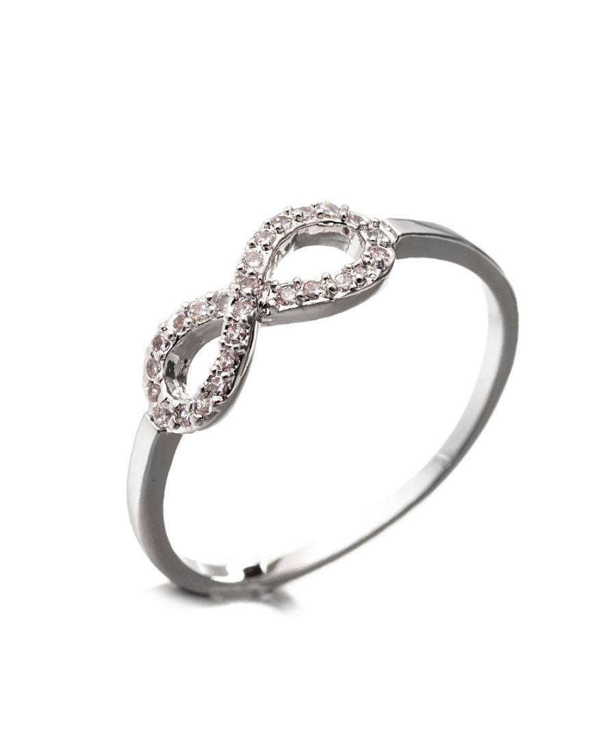 Image for Rhodium Plated Infinity Ring and White Cubic Zirconia